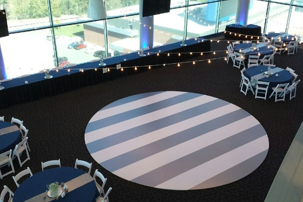 Vinyl Designs and Bistro lighting for weddings in Mccall Idaho Sound Wave Events